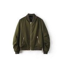 2017 parkas Inverno básico legal bombardeiro jaqueta Verde Do Exército Das Mulheres para baixo casaco jaqueta Acolchoada com zíper motociclista chaquetas outwear 0816-89