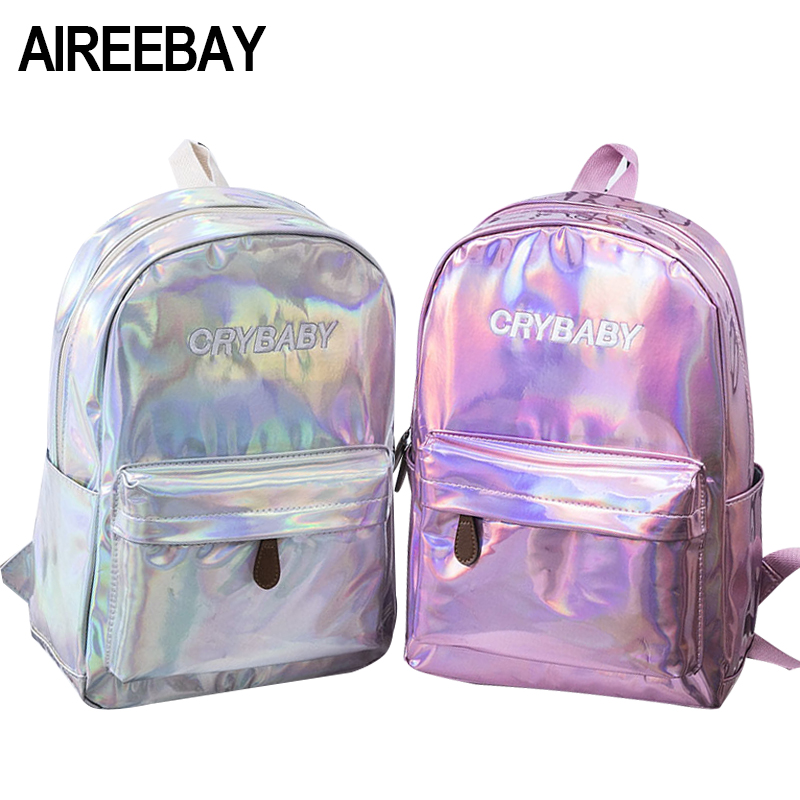 AIREEBAY Female Holographic Laser Silver Backpack Black Hologram Laser Women Schoolbags Pack Bags Backpacks For Teenager Girls цена