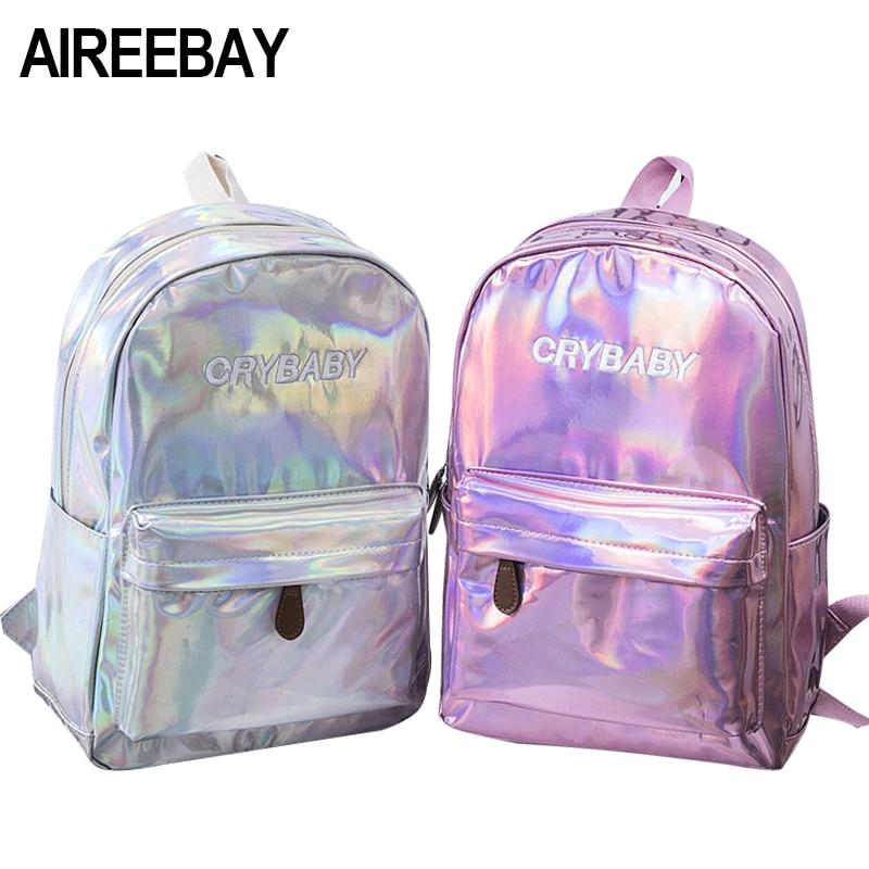 AIREEBAY Female Holographic font b Laser b font Silver Backpack Black Hologram font b Laser b
