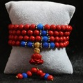 Fashion synthetic red cinnabar 6mm Multilayer bracelet 108 beads with lotus flower pendant blue spacer beads diy bracelet B811