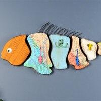Рыбы настенные украшения деревянные настенные росписи мультфильм декоративные морские Животные Карп Творческий модель стене висят украше