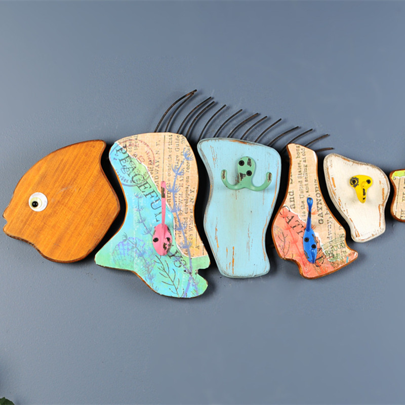 Fish Wall Ornaments Wooden Wall Mural Cartoon Decorative Marine Animals Carp Creative Model Wall Hanging Decoration X'max Gift
