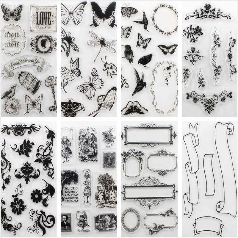 האלפבית פרח שקוף סיליקון בולים גיליון נאחז רעיונות DIY חותמת Mulit עיצובים יד בולים