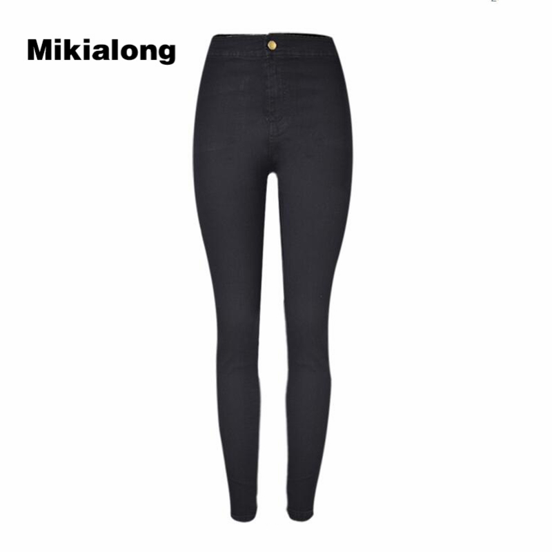 где купить 2017 High Waist Elastic Skinny Jeanss Femme Slim Pencil Boyfriend Womens Jeans Denim Black Blue Cotton Women Jeans Pants по лучшей цене