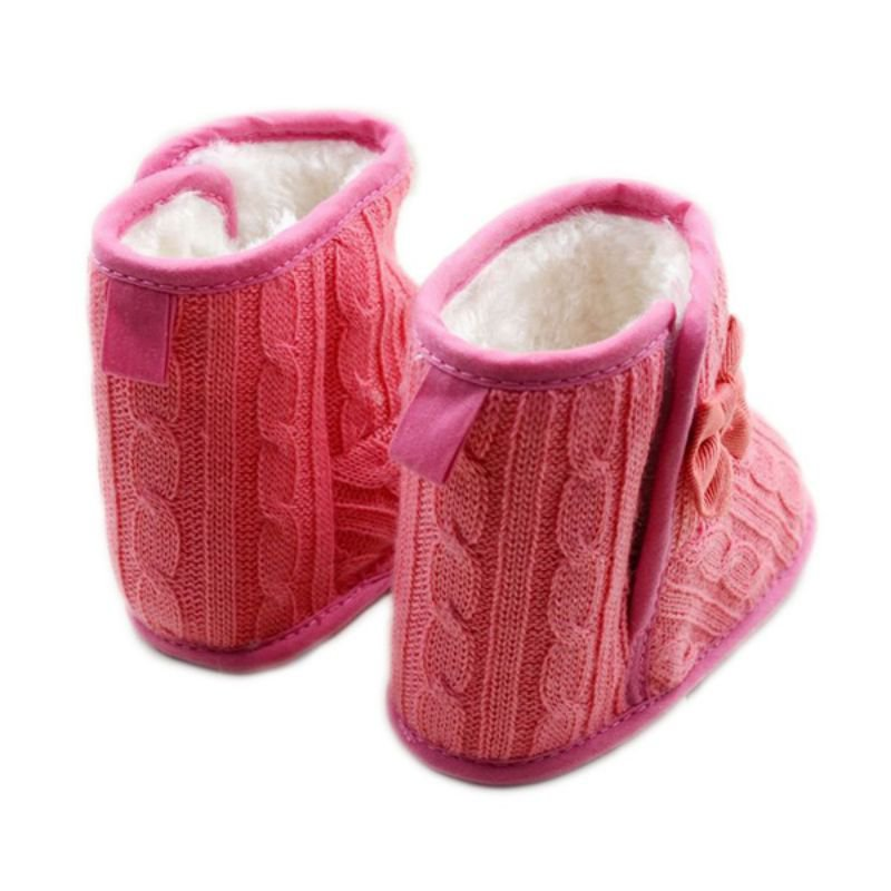 Baby-Girl-Shoes-Knit-Bowknot-Faux-Fleece-Snow-Boot-Soft-Sole-Kids-Wool-Baby-Booties-3-18M-5