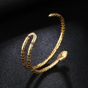 Image 3 - Fashion Jewelry Snake Cuff Bracelets & Bangles Opening Gold Color Bracelets For Women Punk Jewelry ZK40