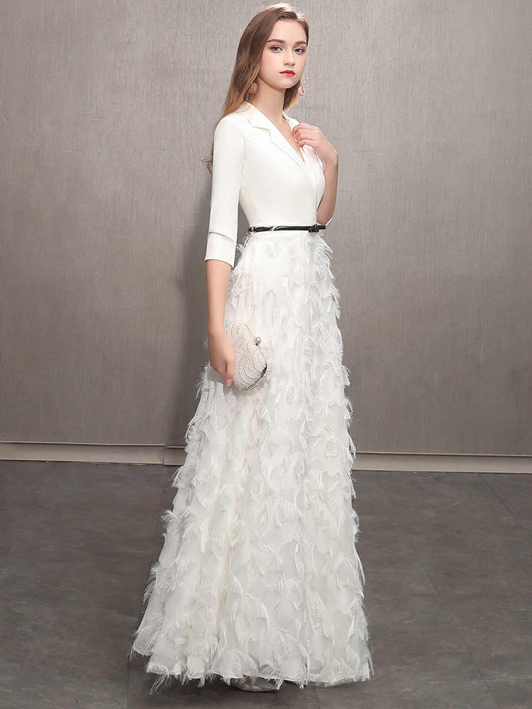 c197e3ebe64 ... weiyin White Evening Dresses 2019 Elegant Lace Evening Gowns Long  Formal Evening Dress Styles Women Prom ...