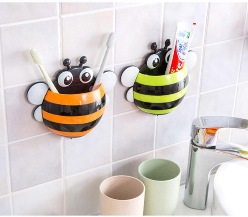 Super Deal Toothbrush Holder Set Family Wall Bee Mount Rack Bath Bathroom Accessories Banheiro HYM1706 In Sets