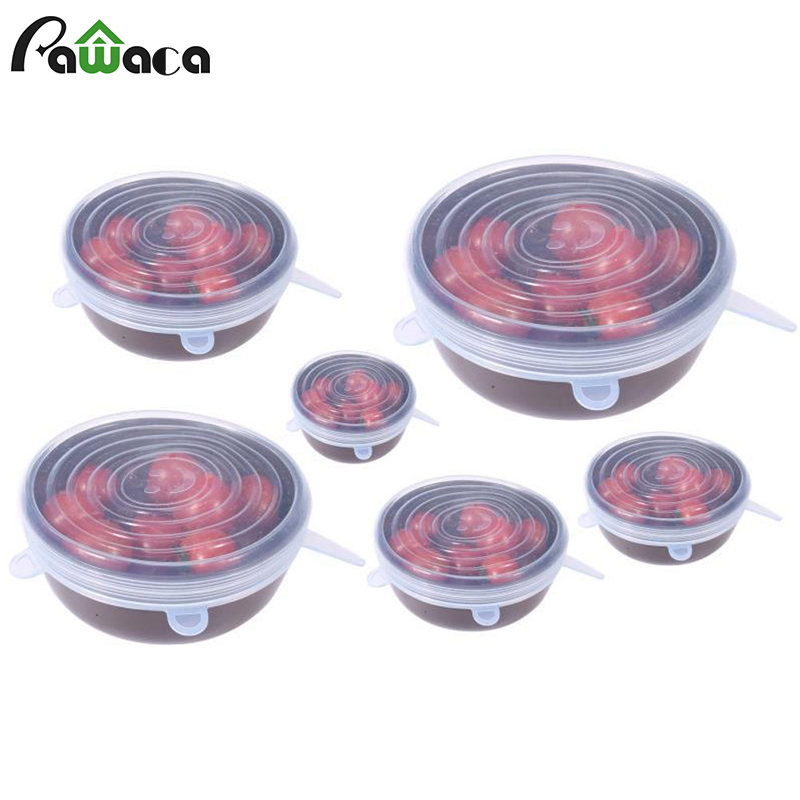 6pcs/set Silicone Stretch Lids Universal Food Wrap Bowl Pot Lid Suction Silicone Cover Pan Spill Stopper Cooking Kitchen Tools
