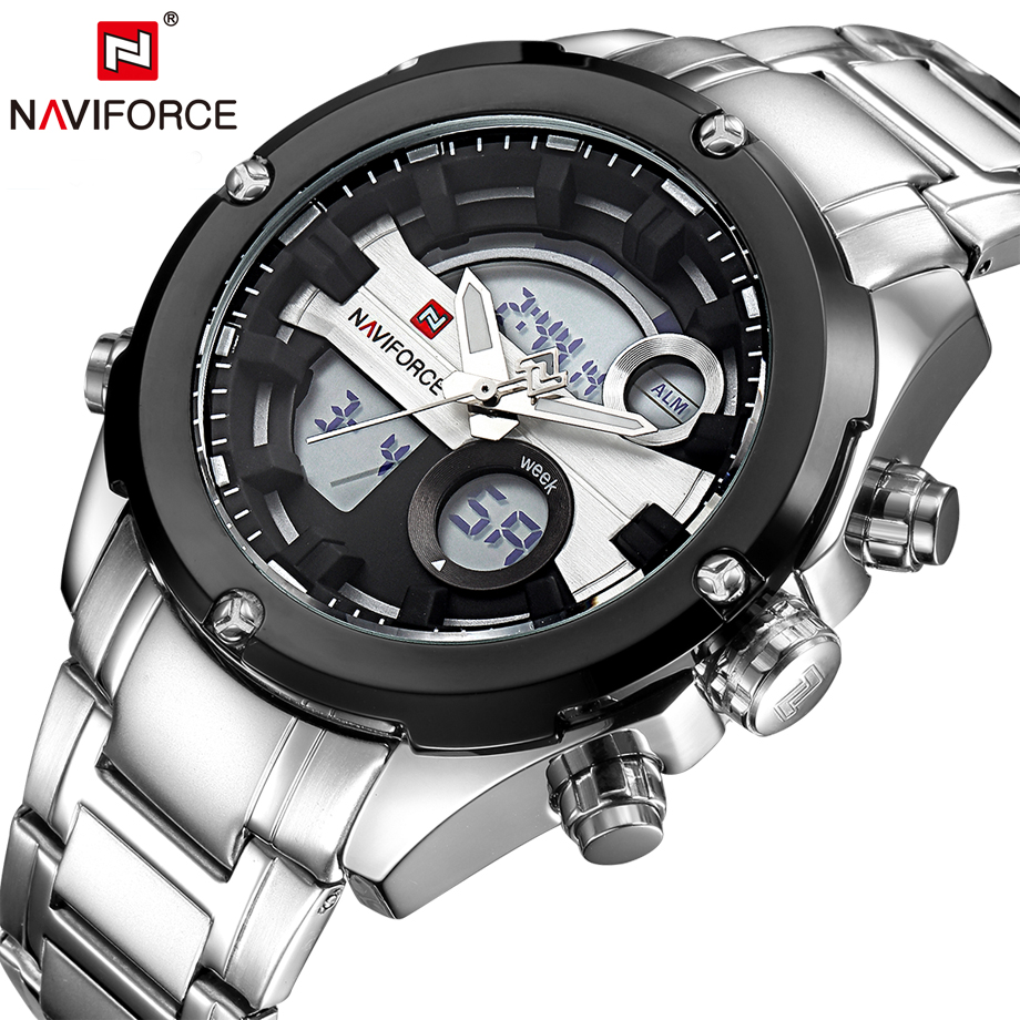 NAVIFORCE Men Watch Dual Time Display Wristwatch Day and Date Army Sport Man Watches Fashion Casual Business Clock Relogios