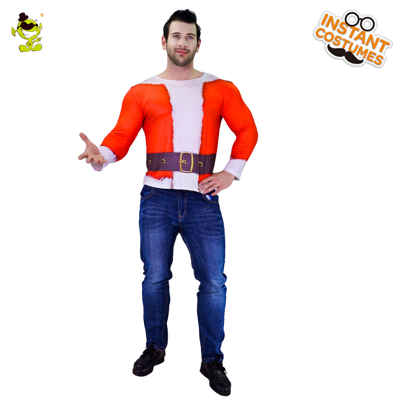 Adult Men's 3 D Digital Printing T-Shirt Costume  Christmas Party Satan Claus Cosplay Christmas Halloween Party Costumes