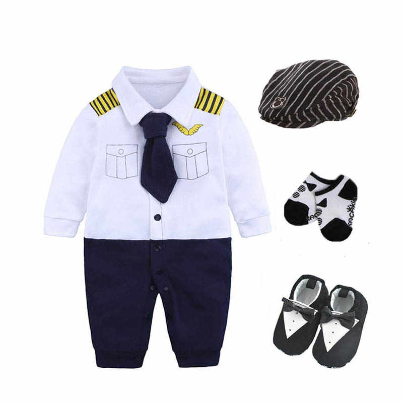 Newborn baby infant boys clothing party birthday gift bodysuit+hat+socks+shoes baby 0-3 3-6m  cotton baby playsuit costume pilot