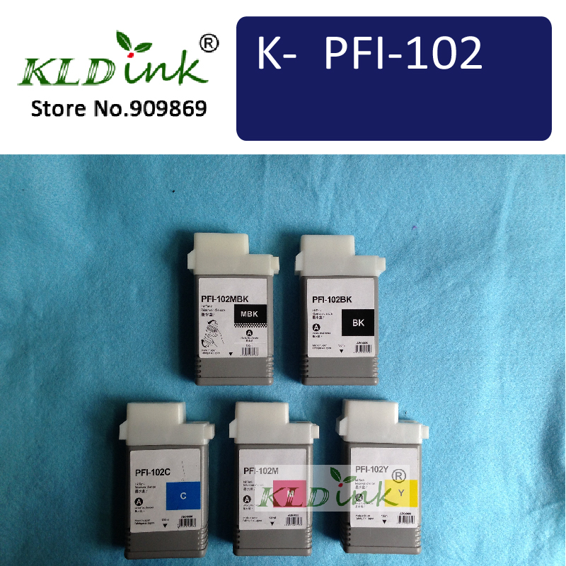 PFI-102 (130ml, 5-pack) Compatible Ink Cartridge for imagePROGRAF iPF605, iPF610, iPF700, iPF710, iPF720 printers color ink jet cartridge for canon printers 821 820 series