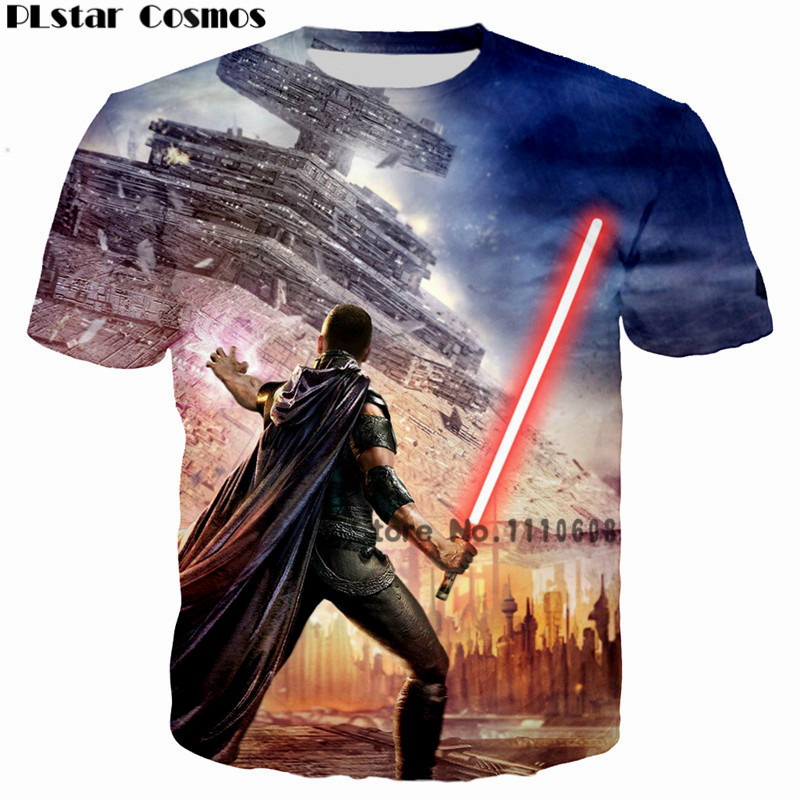 PLstar Cosmos Homme 2018 Camisetas Hombre Movie Star Wars Sword Print 3D  Men T-Shirts Tshirts casual Male Funny Cool tshirt