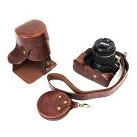 新ヴィンテージ短いフォーカスpuレザーカメラケース用ニコンD3400 d3300 d3200 d3100 18〜55ミリメートルレンズカメラバッグカバーオープンバッテリ