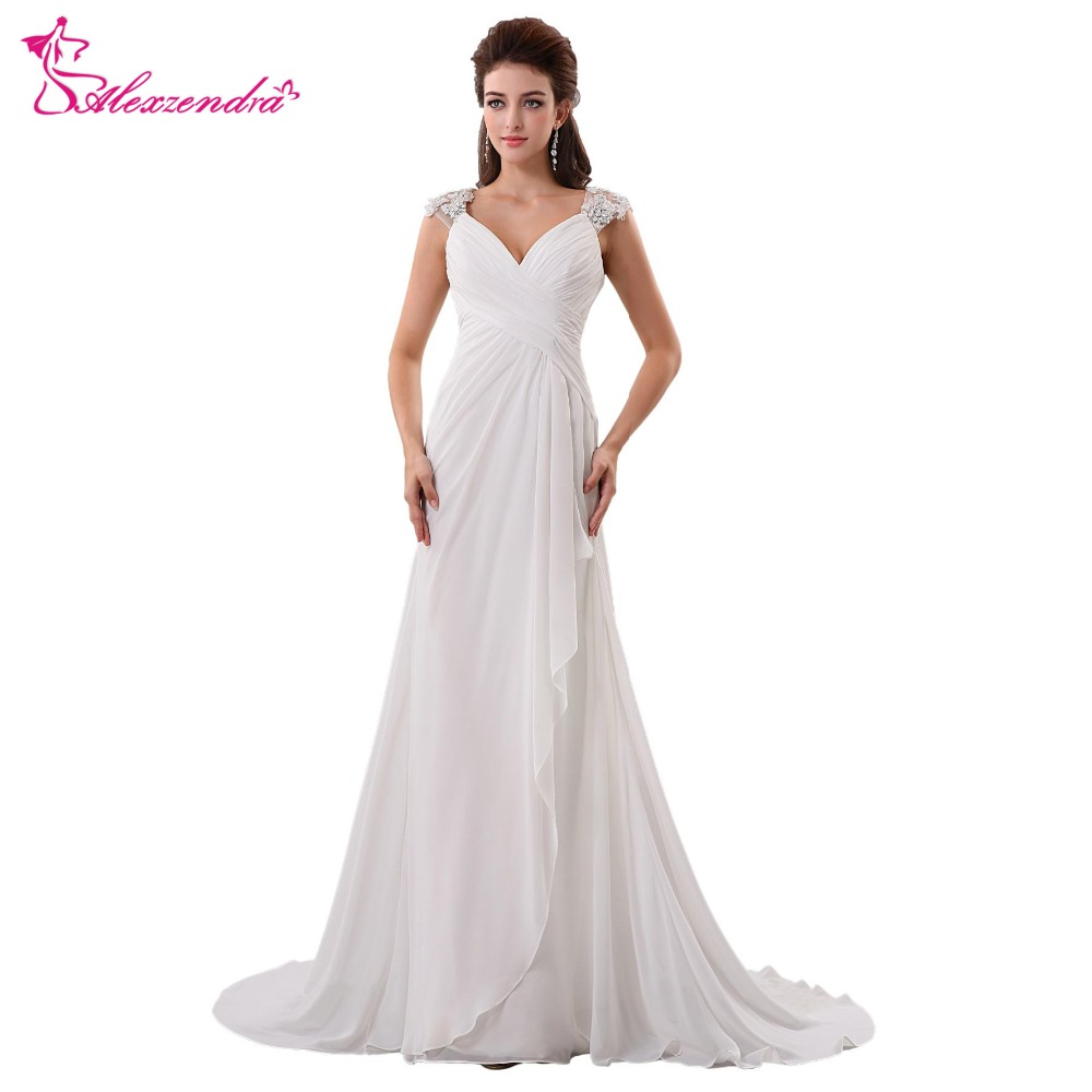 Alexzendra V Neck Chiffon Beach Long Pregnant Wedding Dress Cap ...
