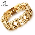 Kalen Wholesale Bicycle Motorcycle Chain Men's Bracelets Casual Gold Plated Stainless Steel Male Link Chain Bracelet Jewelry