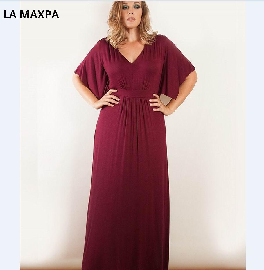 US $20.79 48% OFF|2018 Summer Women Plus Size Maxi Dress 5XL 6XL V Neck  Solid Long Party Dresses Elegant Blue Bohemian Vintage Evening Vestidos -in  ...