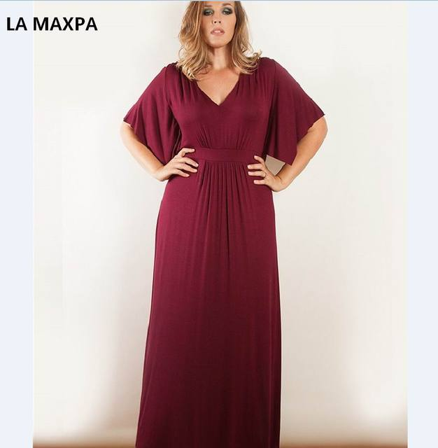 2018 Summer Women Plus Size Maxi Dress 5XL 6XL V Neck Solid Long ...