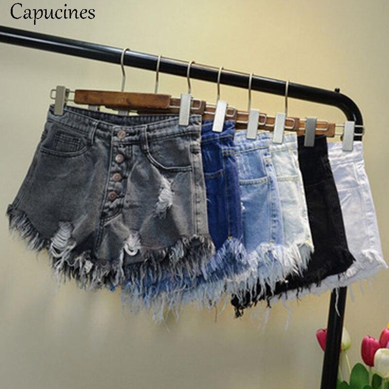 Capucines Vintage Ripped Hole Tassel Blue Denim Shorts 2018 Summer Women Casual Pocket Jeans Shorts High Waist Girls Hot Shorts