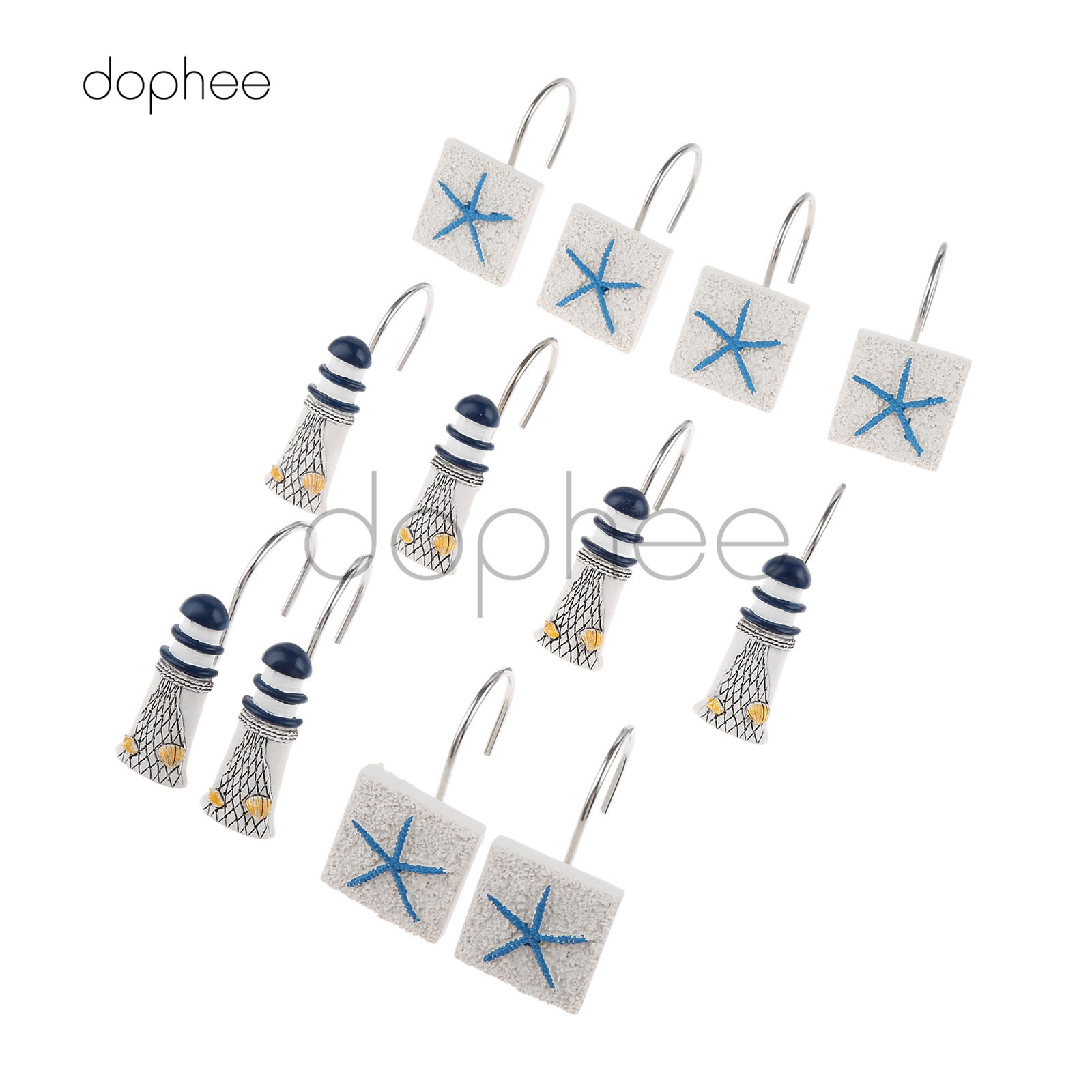 Dophee 12pcs Shower Curtain Hooks Decorative Resin
