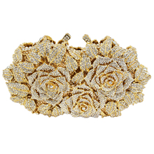 Gold Evening Bag Rose Flower female tote Clutch wedding Party women purse Crystal Bag Day Clutches