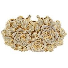 Gold Abendtasche Rose Blume weiblichen tote Kupplung handbrautrhinestone-hochzeitsfest-frauen-geldbeutel Kristall Tasche Tageskupplungen Prom Damen Handtasche 88550
