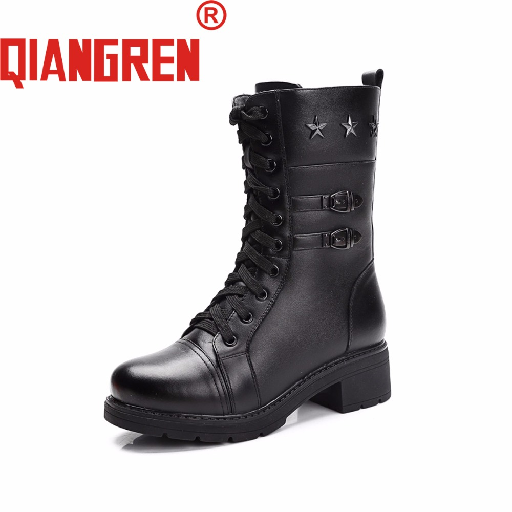 QIANGREN High-grade Quality Military Factory-direct Women's Winter Genuine Leather Wool Rubber Snow Boots Outdoors Motorcycle new premium promotional yu europe d41x d341x flange rubber seal butterfly valves factory direct quality assurance