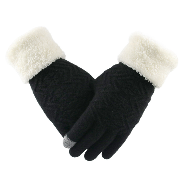 Winter Women Knitted Gloves Touch Screen Keep Warm Gloves Full Finger Soft Stretch Knit Mittens Guantes