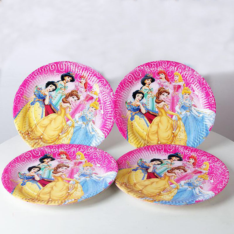 10pcs/Pack Cartoon Princess Paper Plates 7inch Printing Round Plates Kids Favor Boys Birthday Party Supplies Disposable Plates