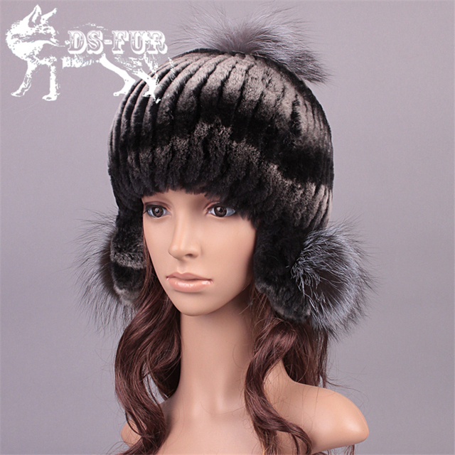 2016 winter hat genuine rex rabbit fur Beanie for women warm ear protector caps fox fur pom poms snow outdoor cap bomber hats
