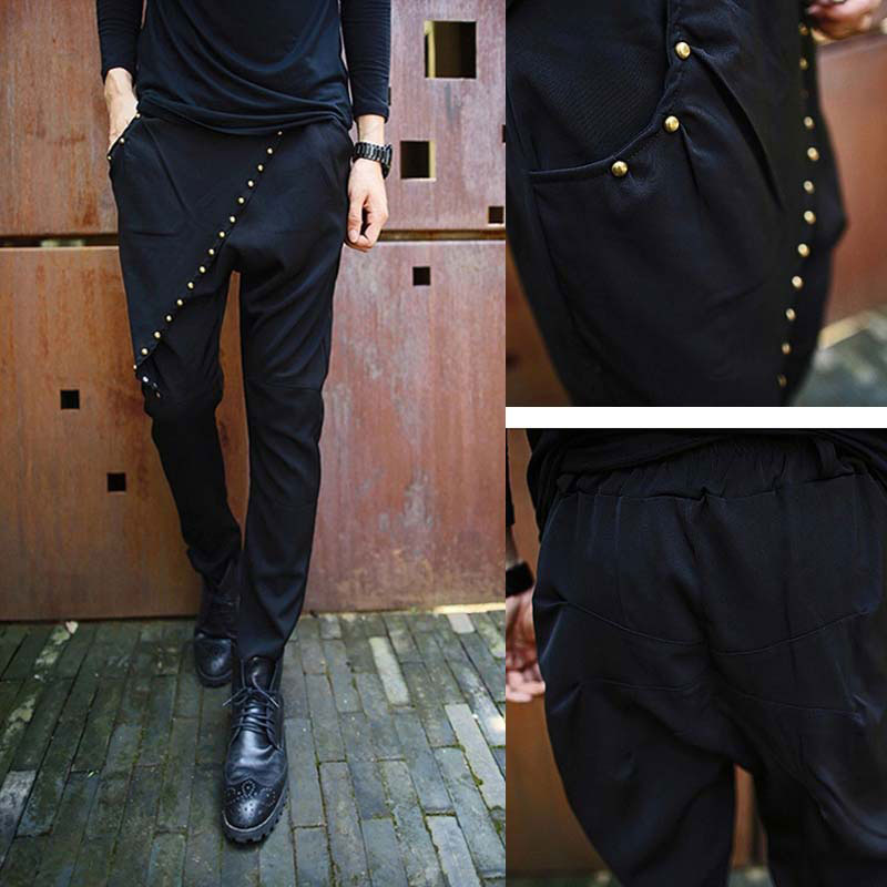 Korean Style Men`s Rivet Pencil Pants Black Slim Fit Studded Harem Skirt Pants Trousers For Men