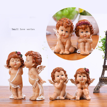 Europe Creative Cute Resin  Angel Ornaments miniature Figurine fairy garden tabletop Crafts Cupid Wedding Gift home decor