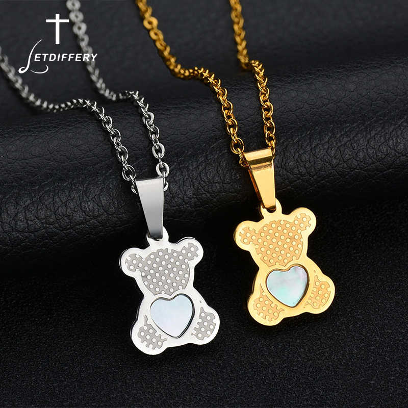 Letdiffery Famous Brand Bears Pendant Necklace Stainless Steel Heart Shell Animal Gold Necklace For Women Gift