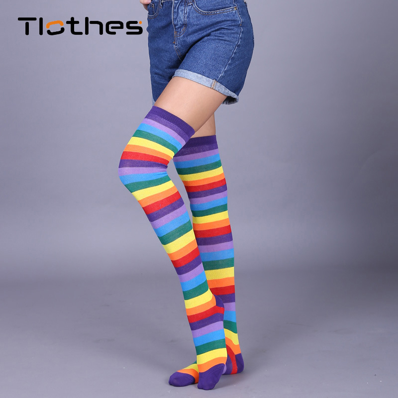 Rainbow <font><b>Socks</b></font> Women Cute Harajuku <font><b>Knee</b></font> High <font><b>Socks</b></font> Colorful Striped Over <font><b>Knee</b></font> Leg Warmer <font><b>Socks</b></font> Girls <font><b>Kawaii</b></font> <font><b>Knee</b></font> Long <font><b>Socks</b></font> image