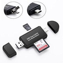 Vmonv lector de tarjetas de memoria de OTG 3 en 1, microusb, tipo C, USB 2,0, OTG, TF/SD, para ordenador Android, unidad de extensión