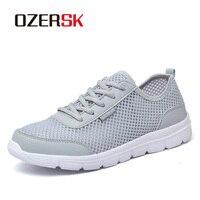 OZERSK/Новое поступление, летняя повседневная обувь для мужчин, Модные дышащие сетчатые мужские кроссовки на плоской подошве со шнуровкой, бег...