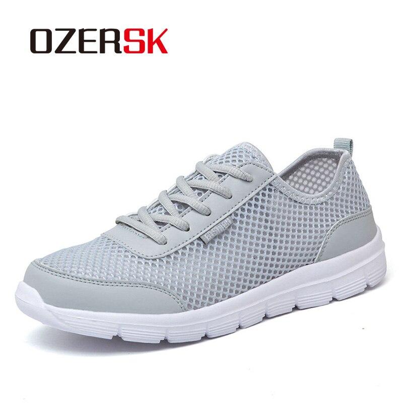 Ozersk nova chegada verão sapatos casuais para homens moda respirável malha rendas até homens apartamentos tênis de corrida mais tamanho 39-48
