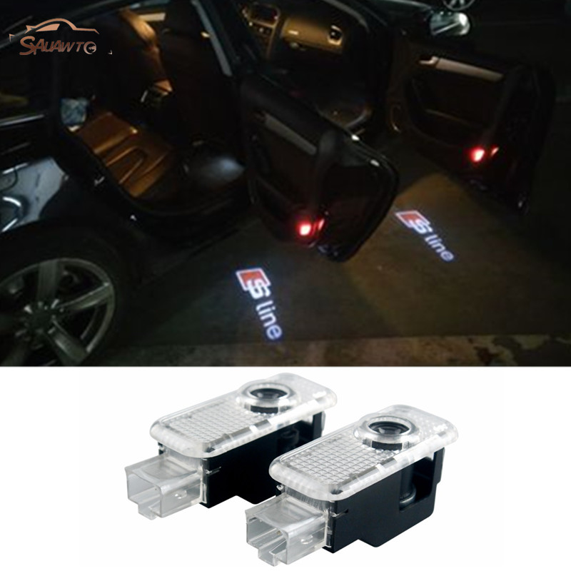 2pcs For Audi A3 A4 A5 A6 A7 A8 B6 B8 B7 C5 C6 C7 80 Q7 Q5 Q3 A1 A2 S3 S4 S8 TT Car Door Light Laser Projector Courtesy Logo LED yawlooc 3d metal black s3 s4 s5 s6 s8 sline car tail sticker emblem badge logo car styling for audi q3 q5 q7 b5 b6 b8 c5 c6