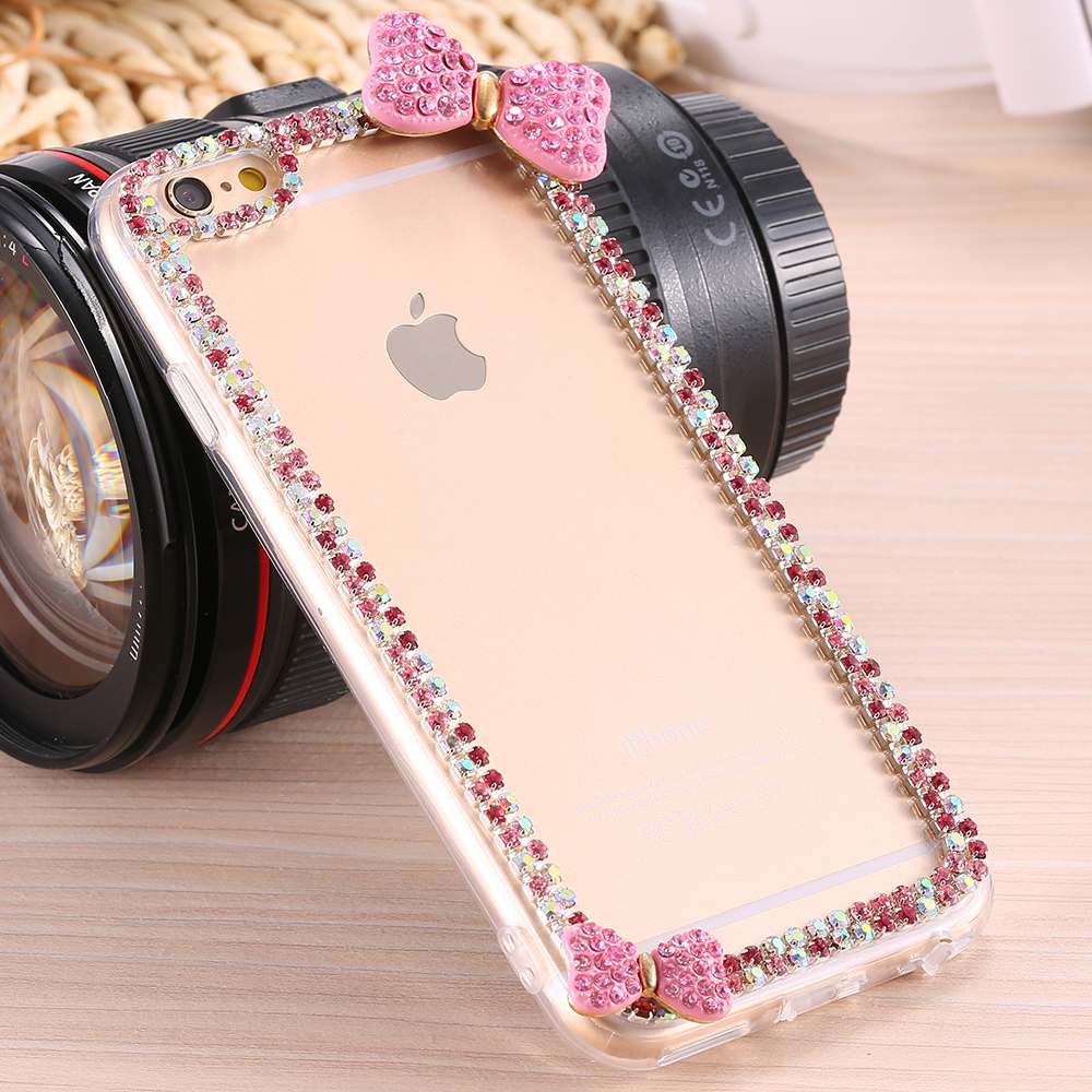 new style b5040 d0e9b US $4.69 |i6 6S Plus New Pink Cute Diamond Bow Clear Case For iPhone 6 6S  For iPhone 6 Plus 6S Plus Slim Rhinestone Transparent Cover on ...