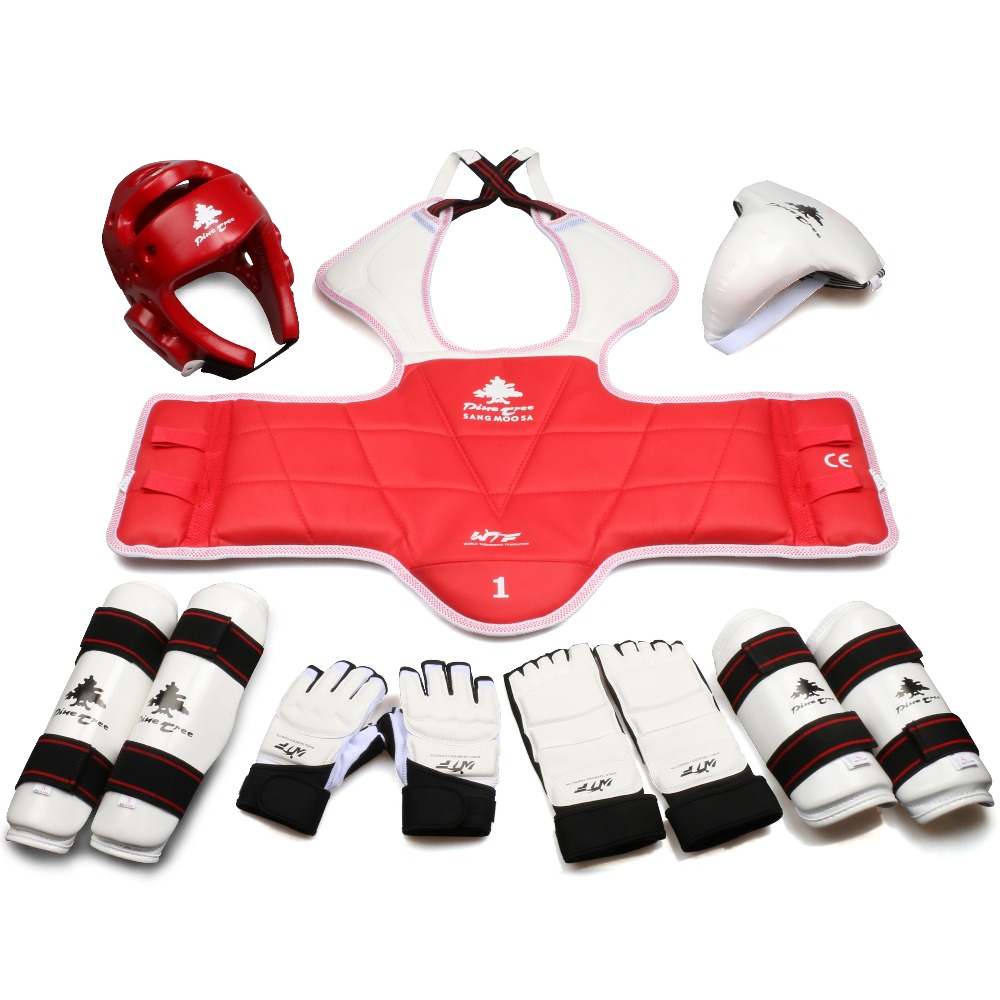7 Piece Red Karate Sparring Gear Set Helmet Hand Foot Shin Guards Pads New