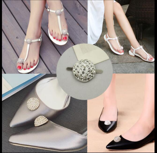1 pair/lot Drill-shaped semi - circular sandals flower water diamond shoes buckle & luggage leather women 's shoes accessories