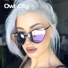 2018 Fashion Cat Eye Sunglasses Women Ladies Black Metal Sun Glasses Female Sunglass mirror designer with case