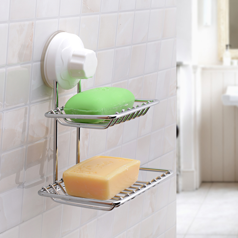 Power Lock Suction Cup Dual Soap Dish Drain Holder Sucker Shelf Wall Mount  Chrome Storage Organizer For Bathroom And Kitchen In Storage Holders U0026  Racks From ...