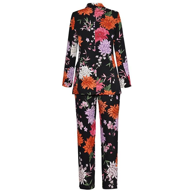 Designer Nueva De Las Floral Alta Suit 2018 Mujeres Chaqueta Pantalones Traje Moda Calidad Runway Conjunto w5vIqg