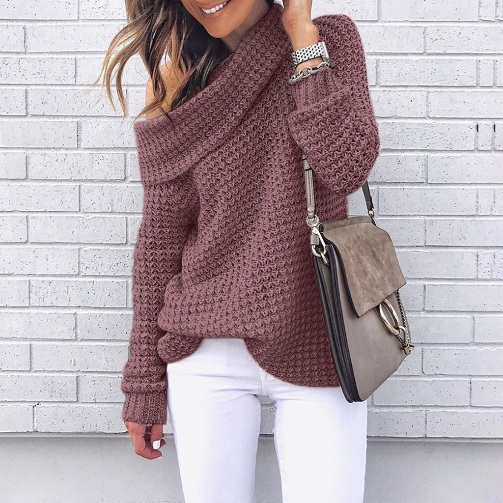 Women Sweater Sexy Off Shoudler Knitting Women Pullovers Winter Jumpers Knitwear Long Sleeve Solid Color Casual Sweater #38
