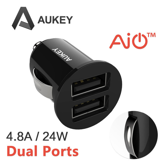 Aukey 4.8A/24W Dual USB Car Charger Adapter for Apple and Android Devices The Smallest phone charger Most Powerful Car Charger