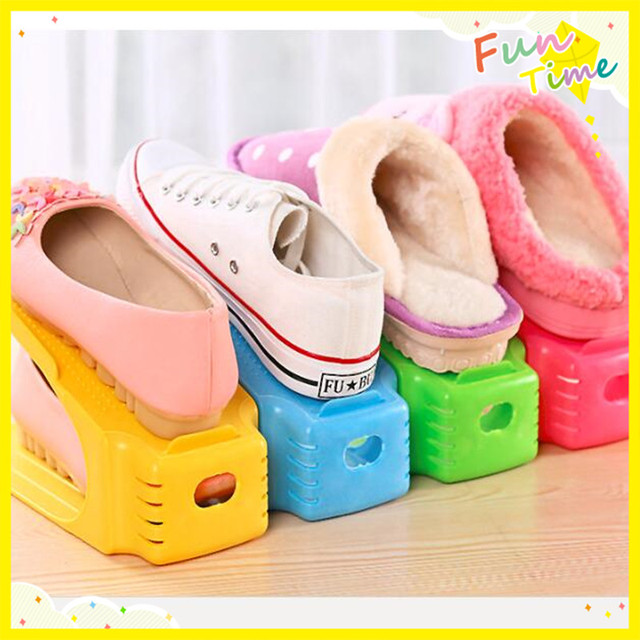 5pcs Double Shoe Racks Storage Shoes Organizers Shoe Storage Holder Space  Saver Shoe Cabinet Box Display