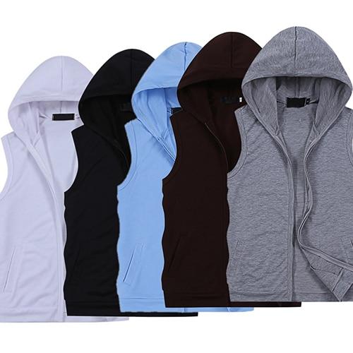 Fashion Men Summer Sleeveless Zip Fitness Casual Hooded Vest Outwear