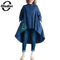 Oladivi Plus Size Women Fashion Embroidered OL Offical Blouses Ladies Office Work Shirts Summer Tops Female Tunics Blusas